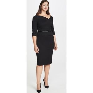 Black Halo 3/4 Sleeve Jackie O Dress Black Sz 8